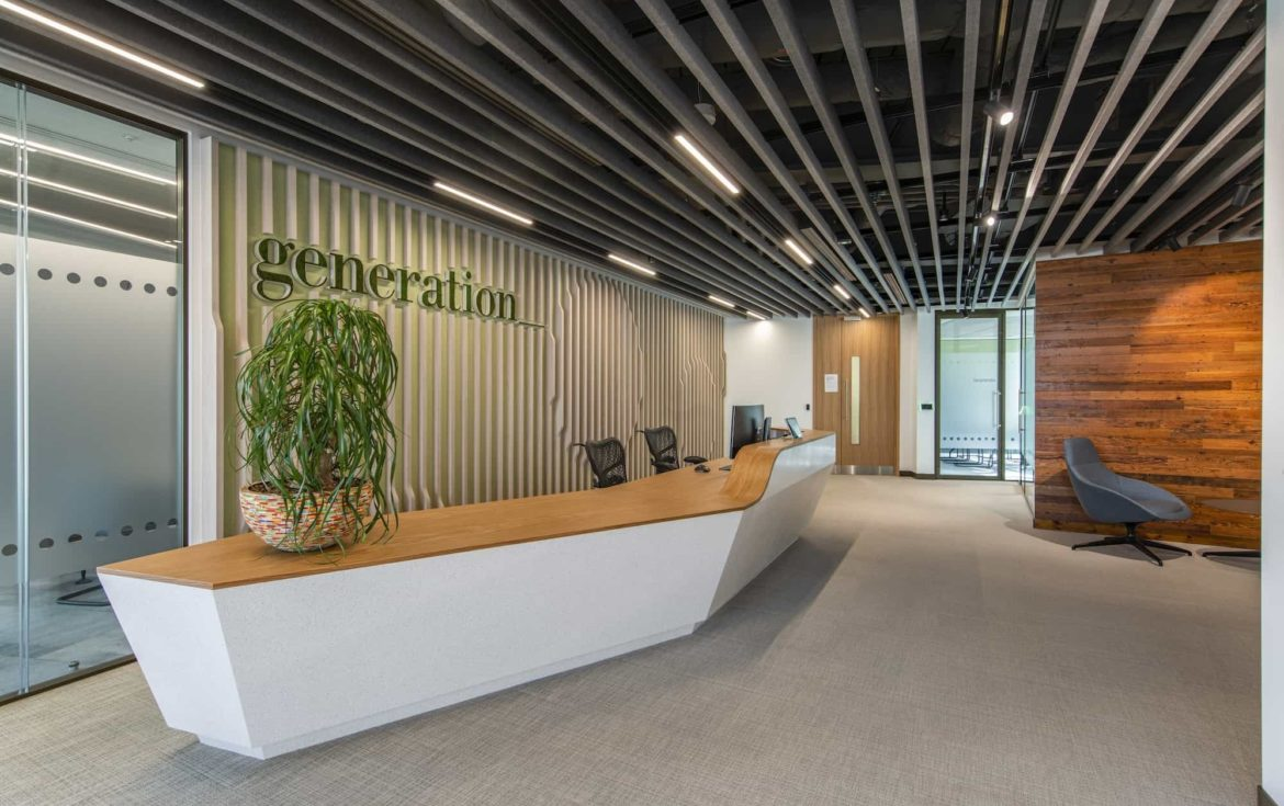 Generation-main-reception in sustainable office design