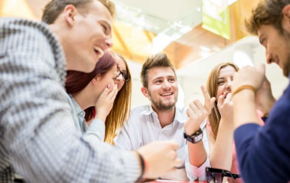 Employees discussing workplace culture
