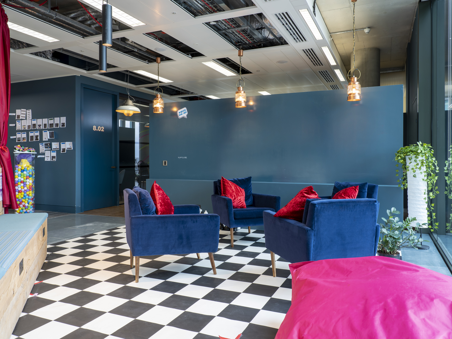 Colourful furniture in office fit out