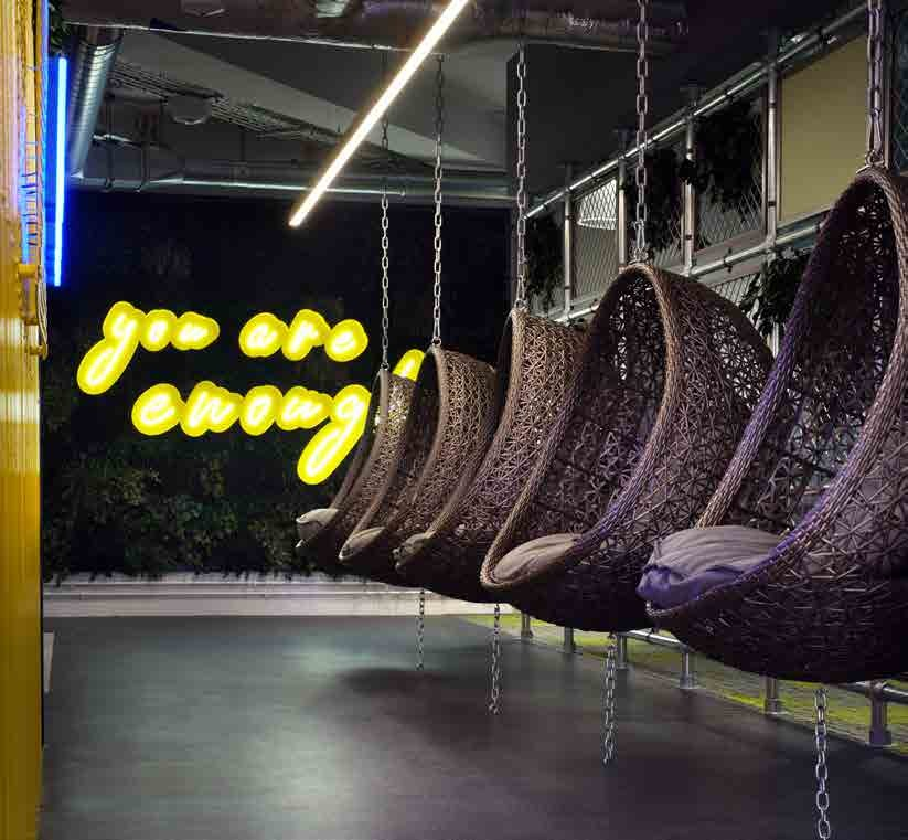Hanging wicker furniture for office wellbeing