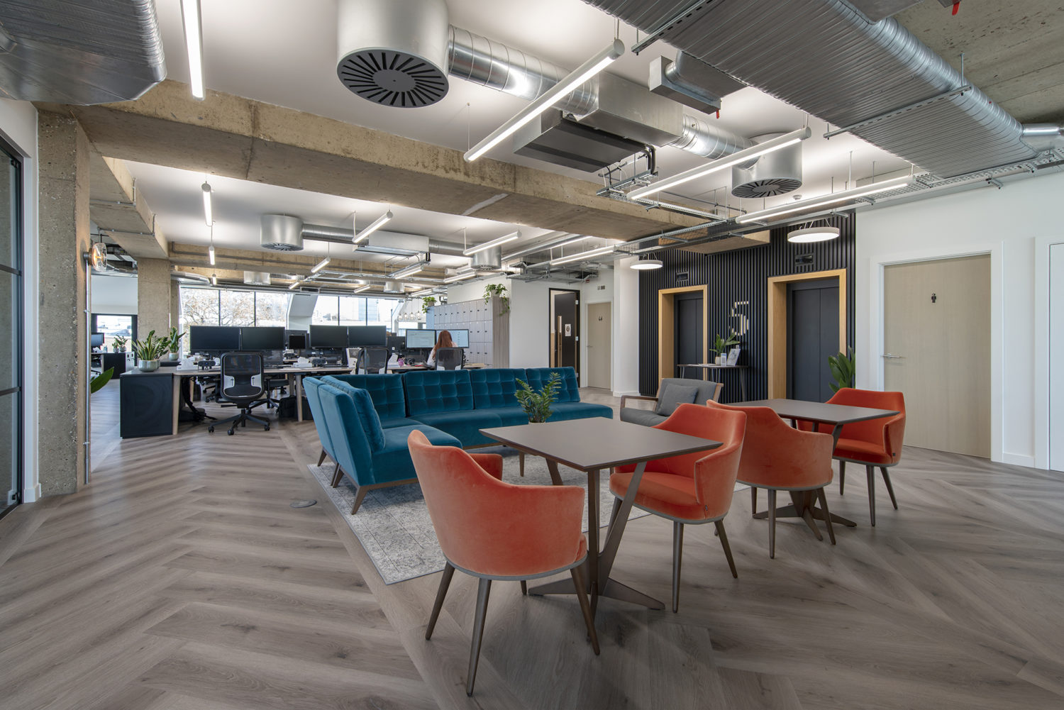 Lovell office reception fit out with teal sofa