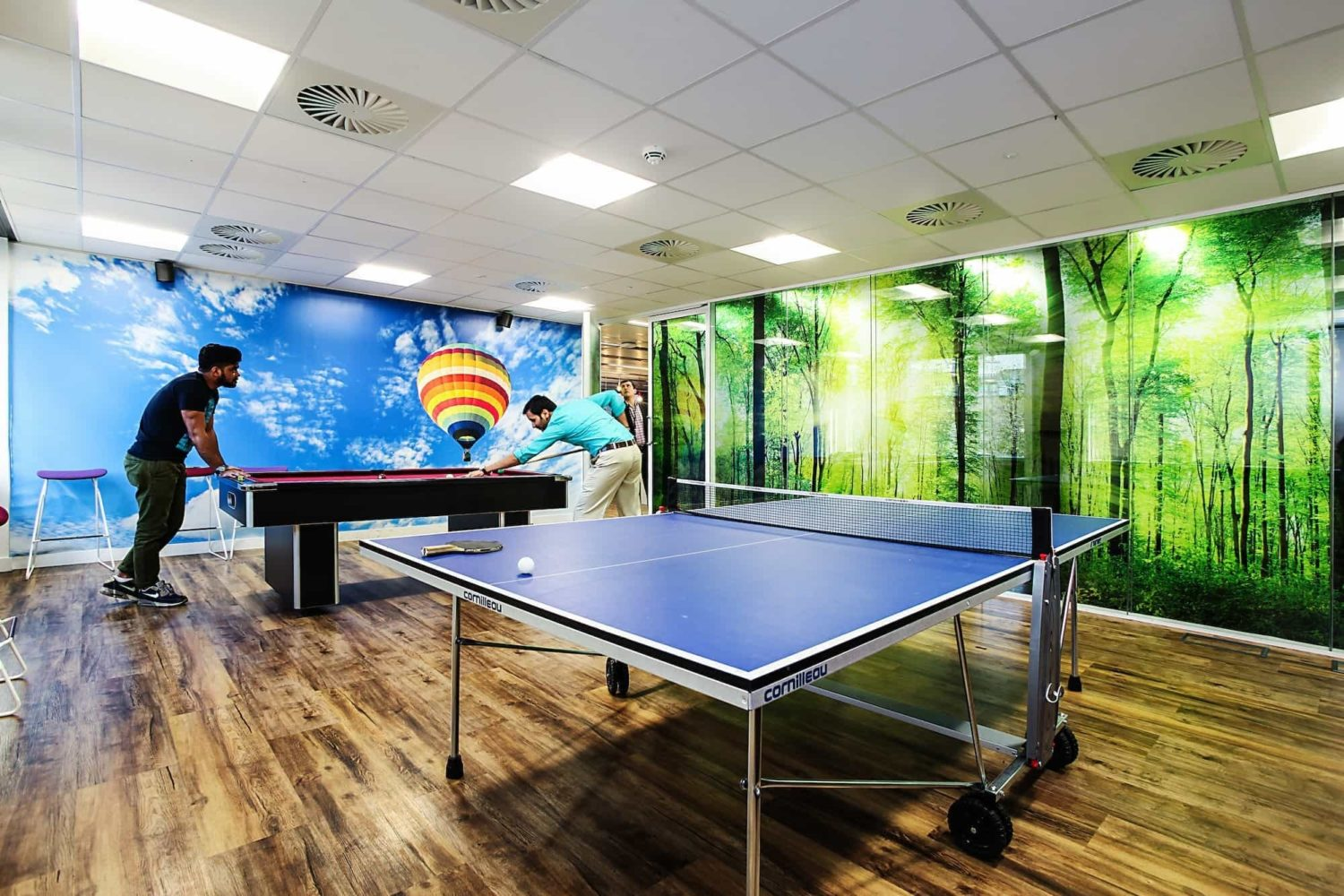 ping pong table pool table in office