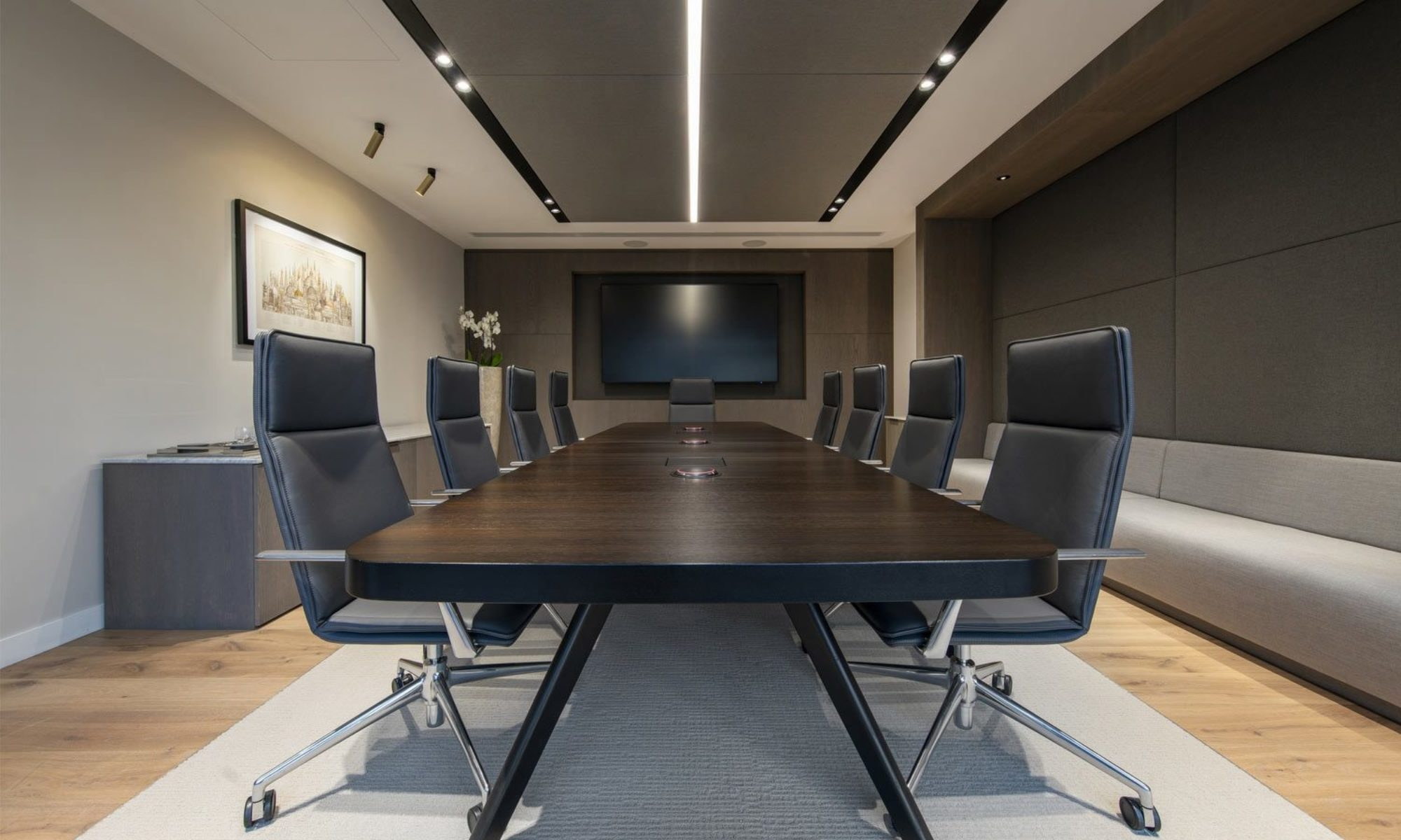 Dodge & Cox modern office boardroom with wooden flooring