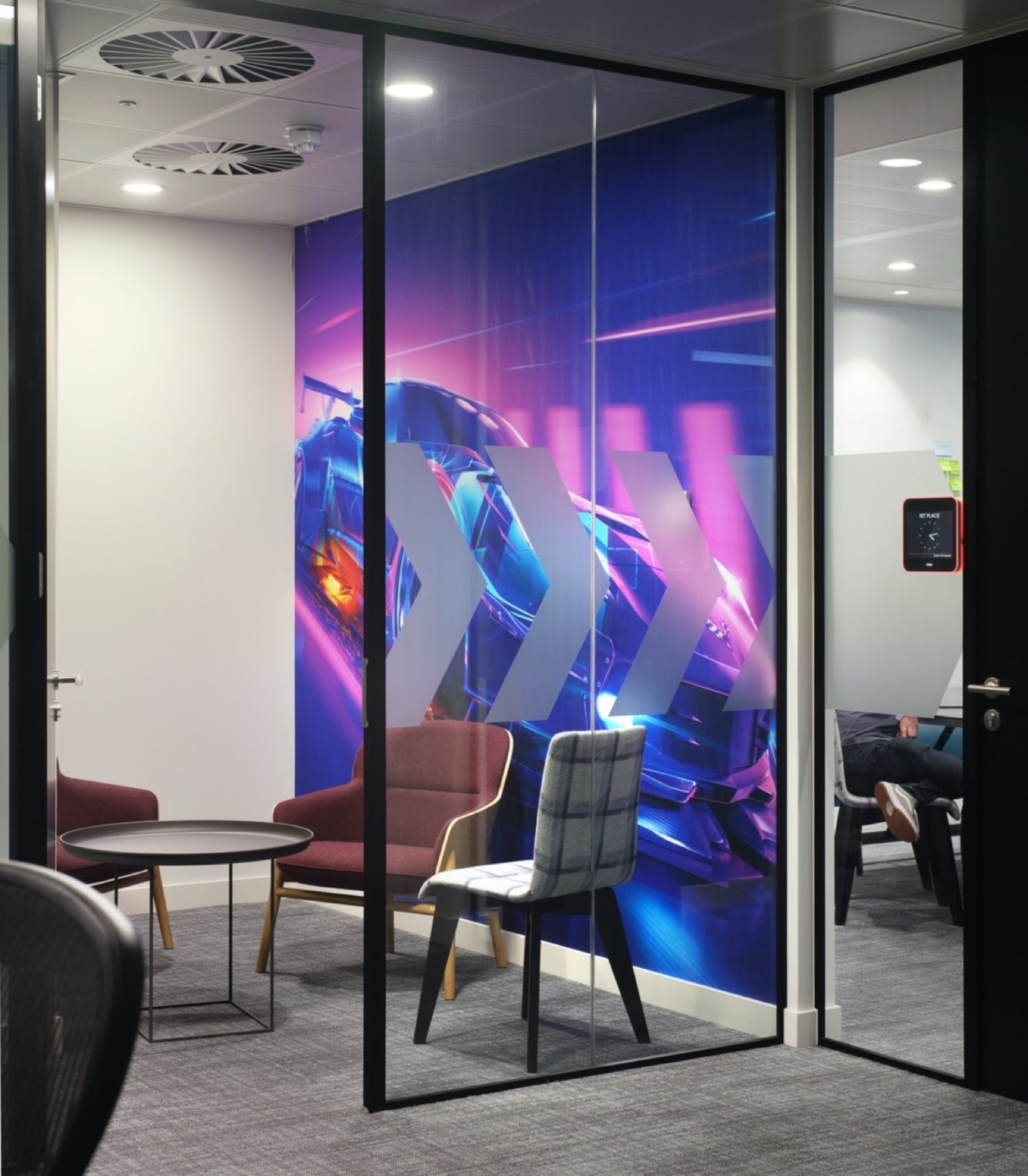 Cool designed office with car image