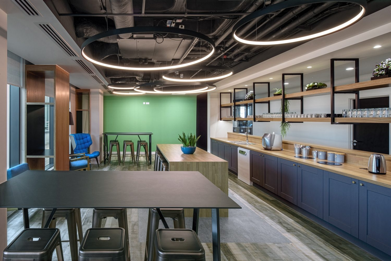 Modern and colourful office kitchen refurbishment