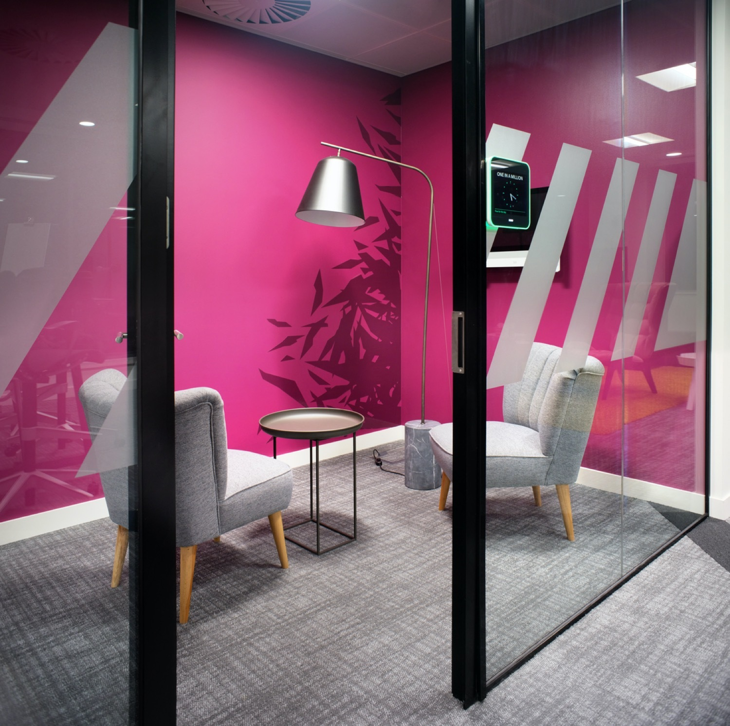 EA collaborative office design pink meeting room