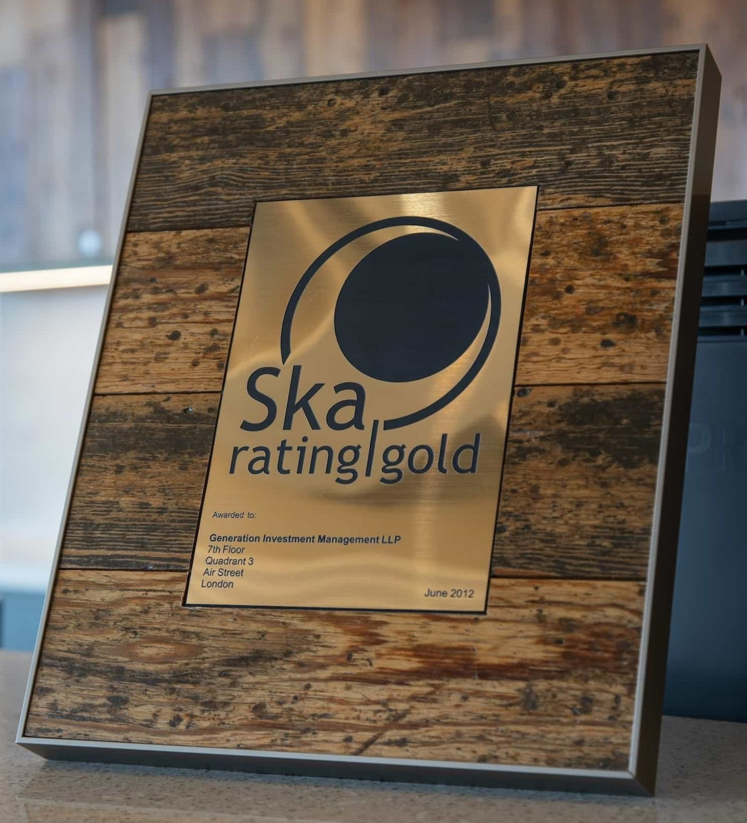 Generation gold SKA rating plaque