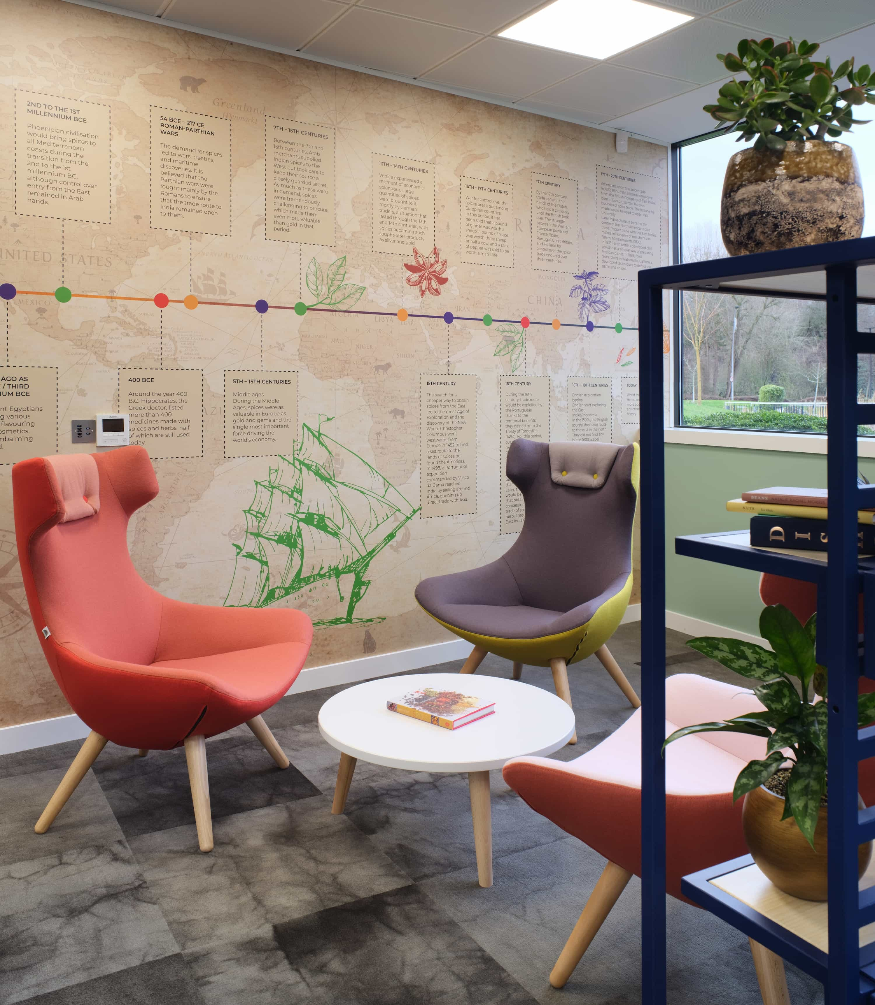 Vibrant foods small meeting area design