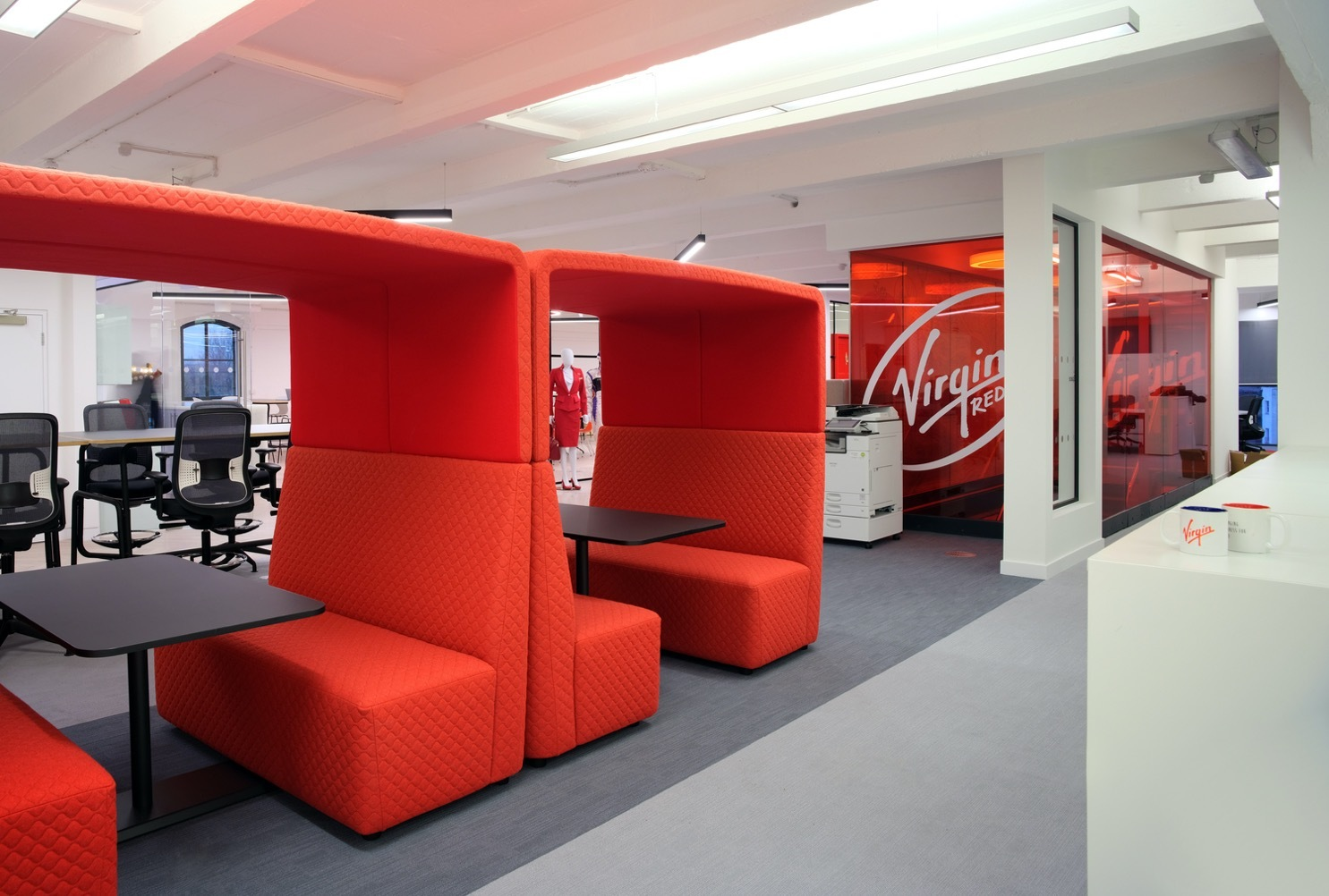 Virgin Red booths interior design for agile