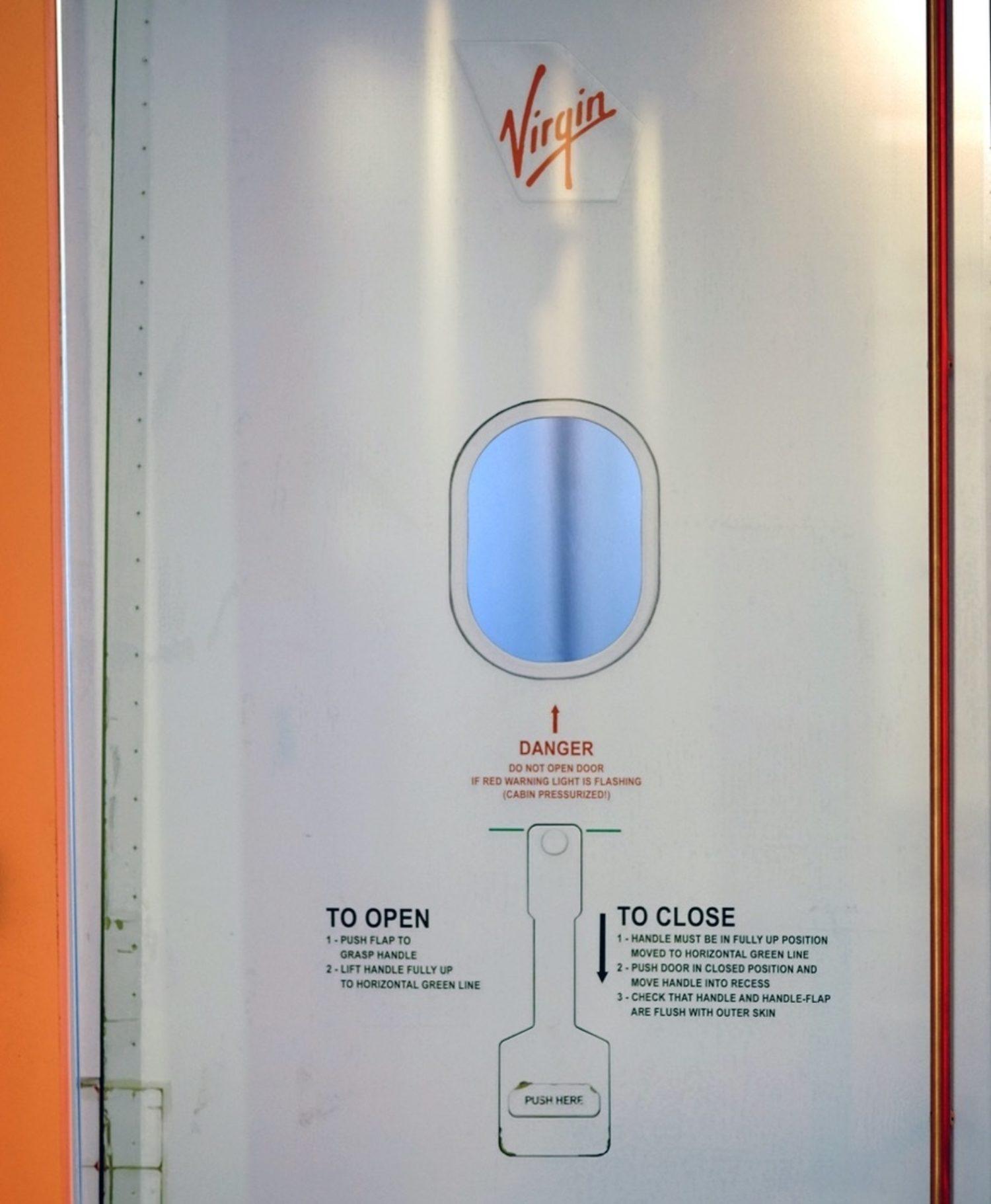 Virgin office interior aircraft door