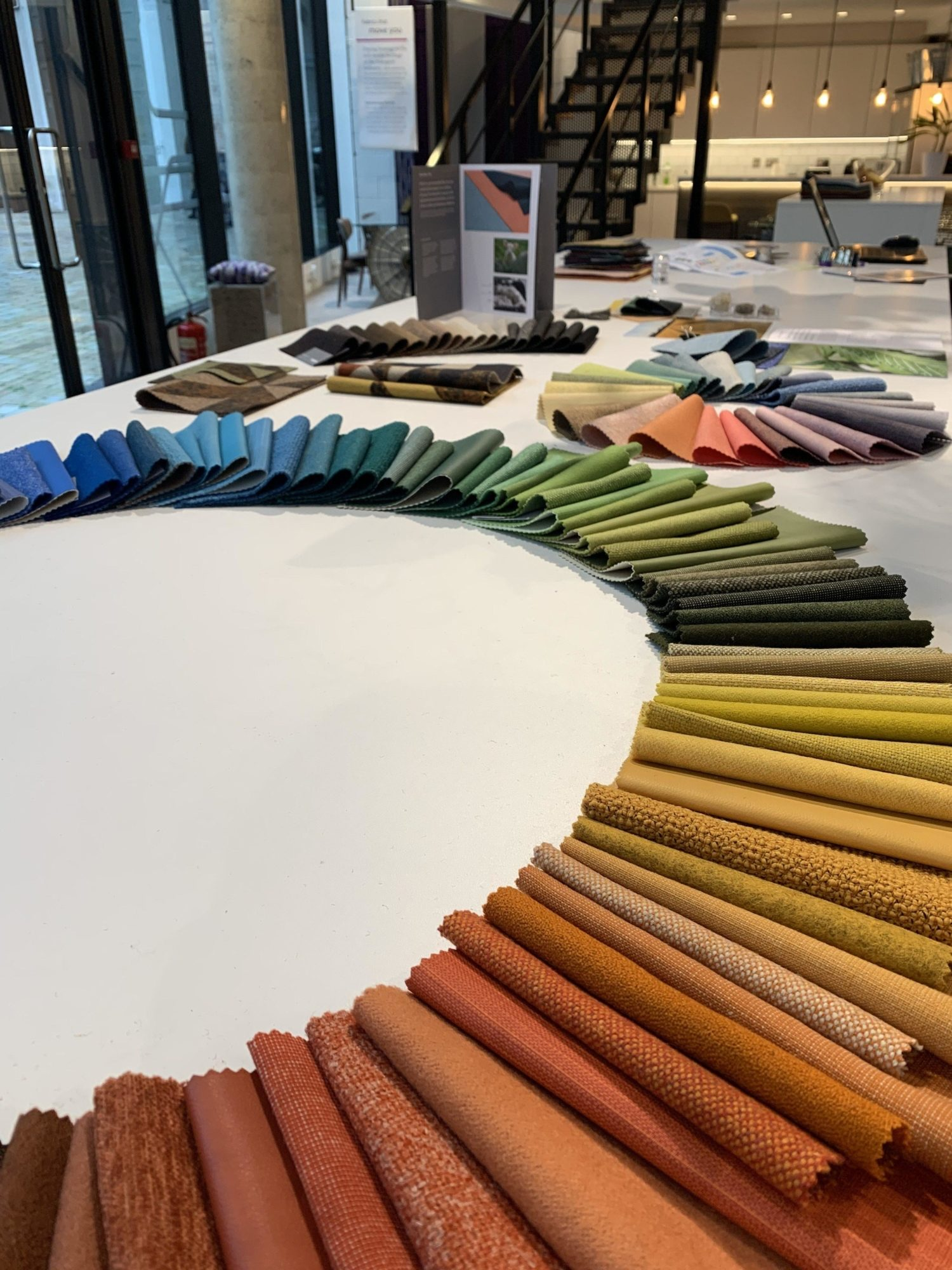 Fabric colour swatches for office design process
