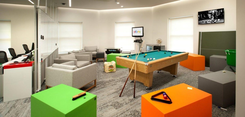eBay pool table in office breakout space