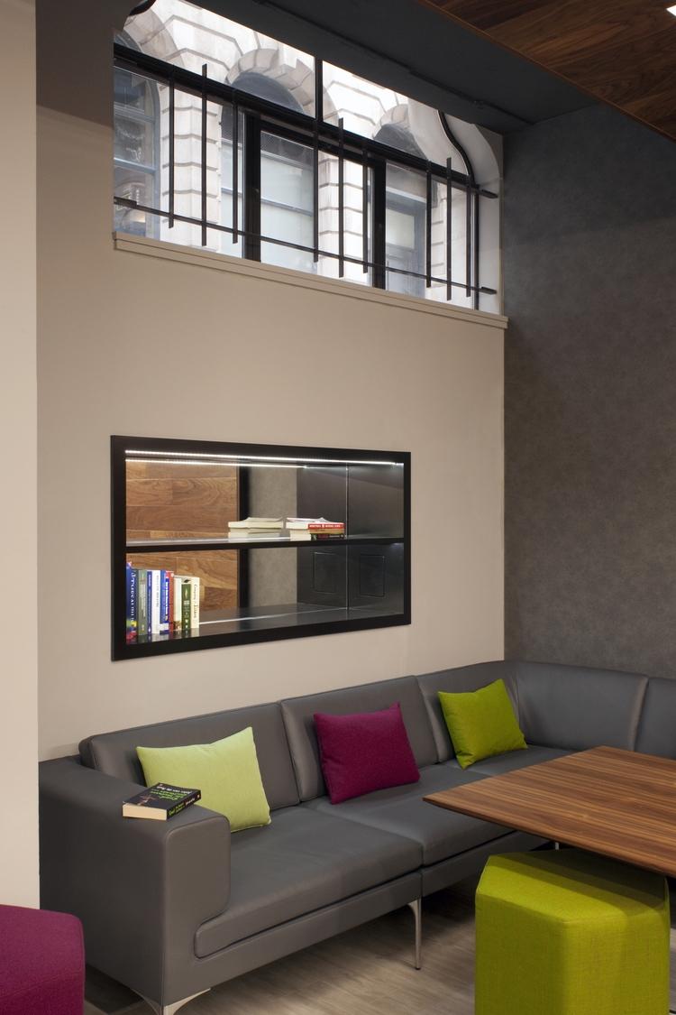FirstRand grey sofa in breakout space design