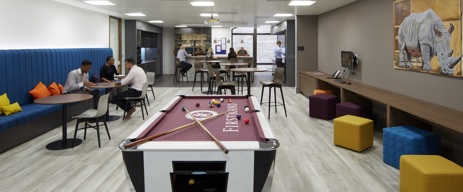 FirstRand pool table in office communal area