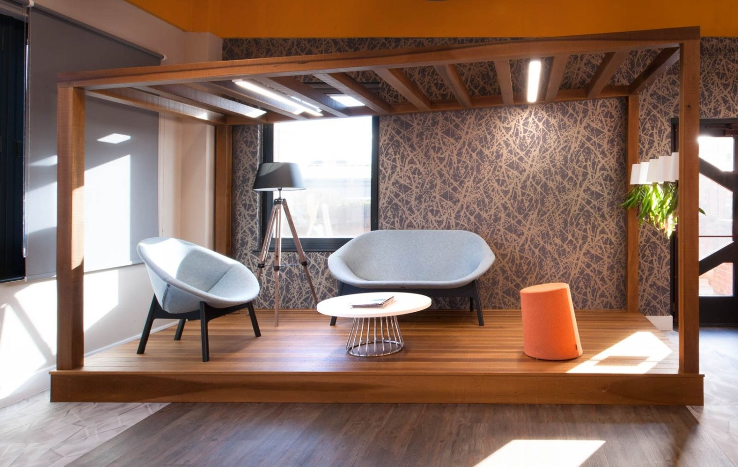 Housing Solutions natural wood breakout area design ideas