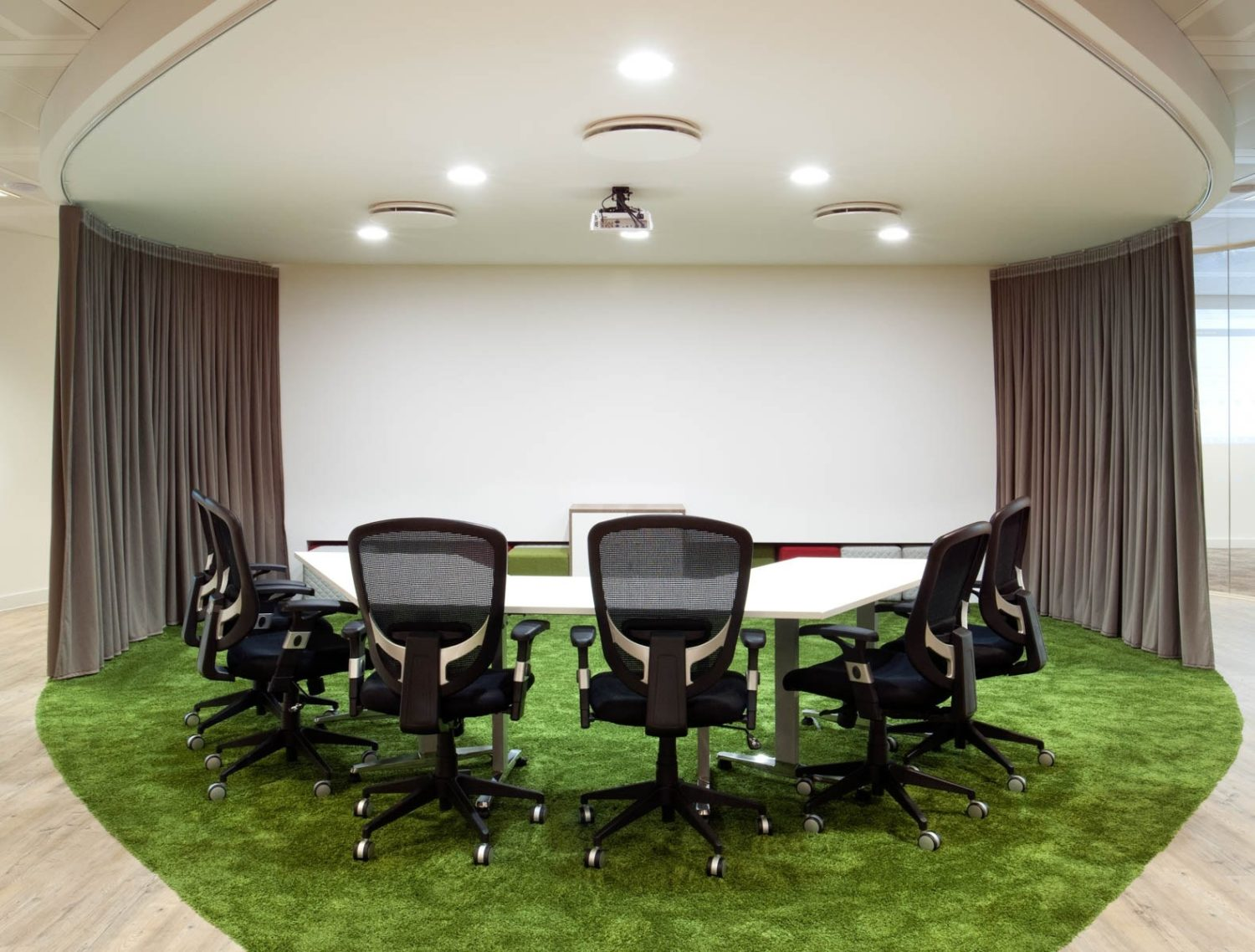 Artificial grass in meeting room