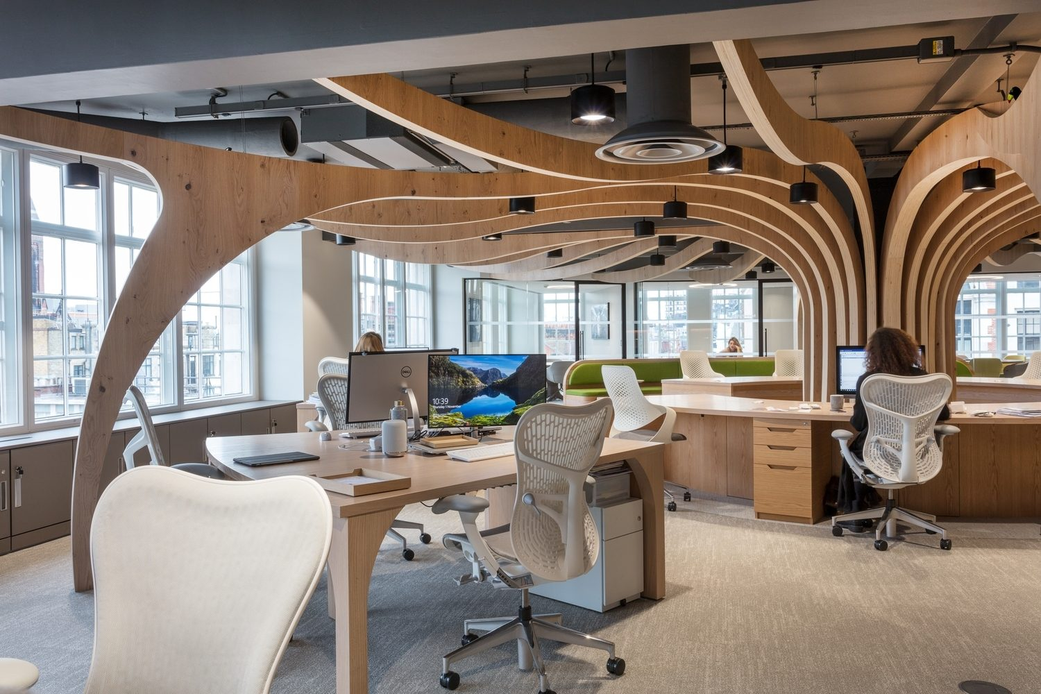 Workplace designed with curved natural wood