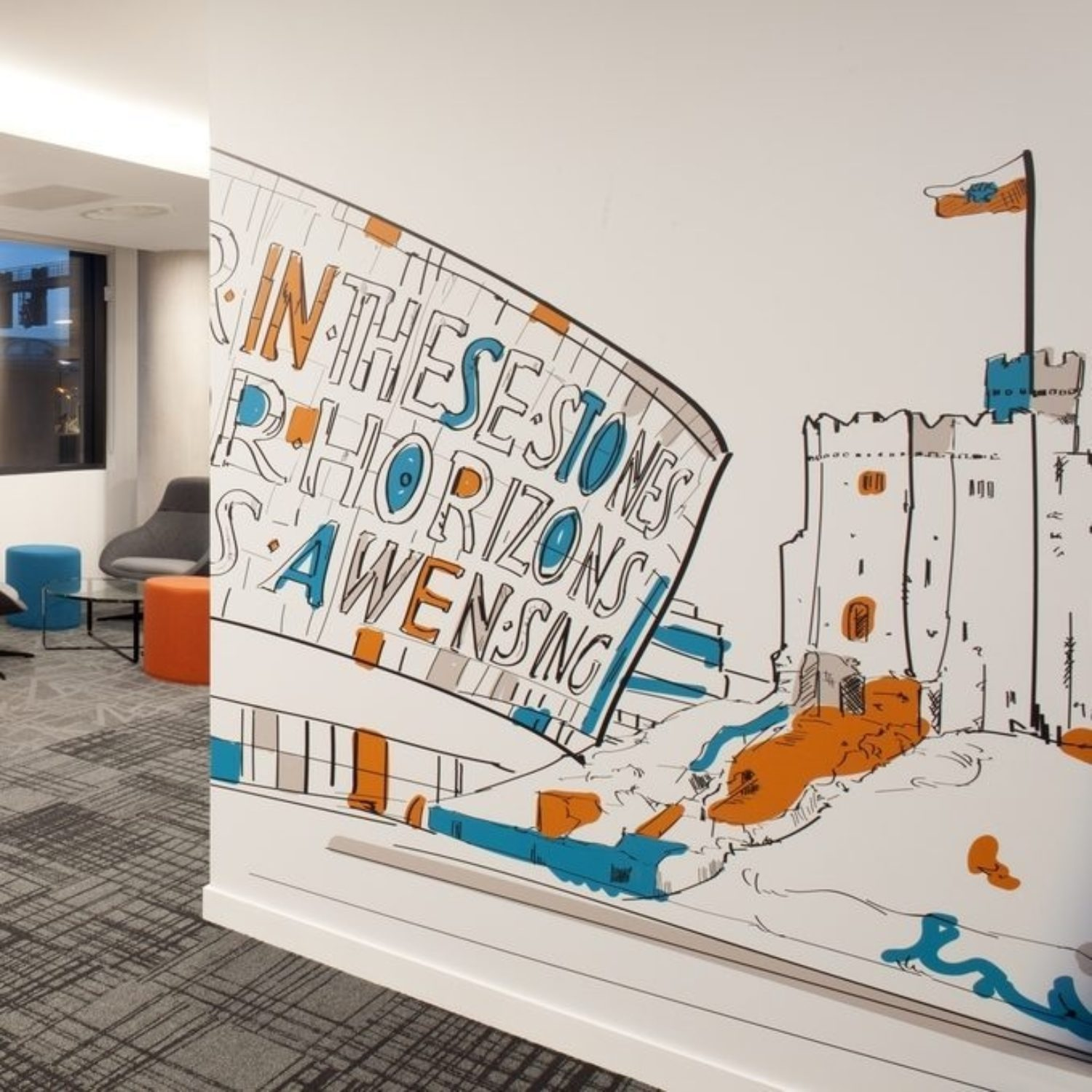 MotoNovo Cardiff Castle mural in office