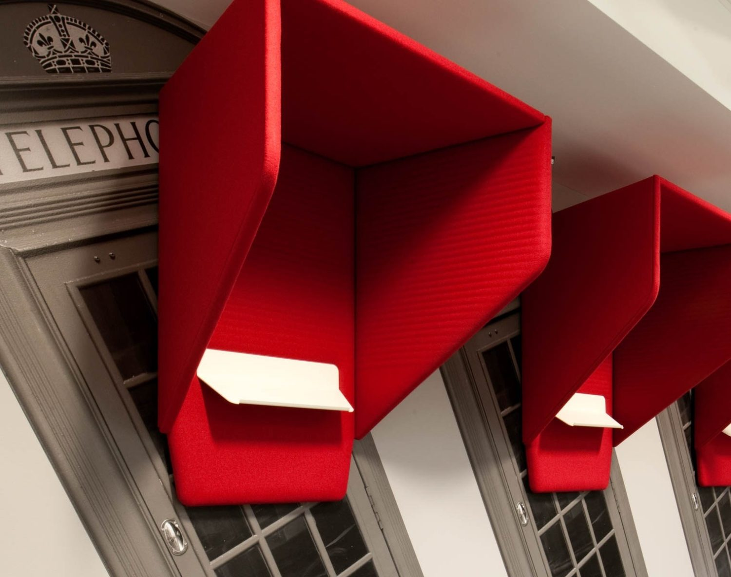 Red office phone booths for privacy