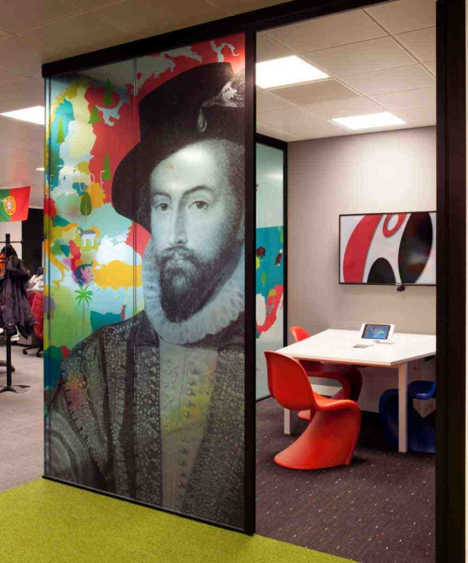 Colourful prints on meeting pod