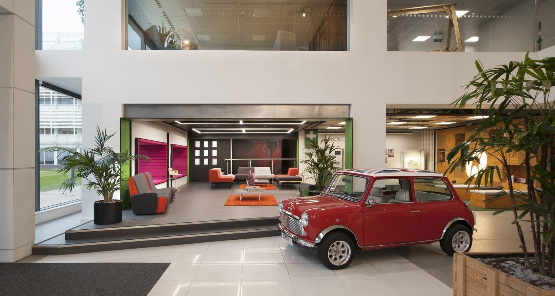 Red classic mini in office reception