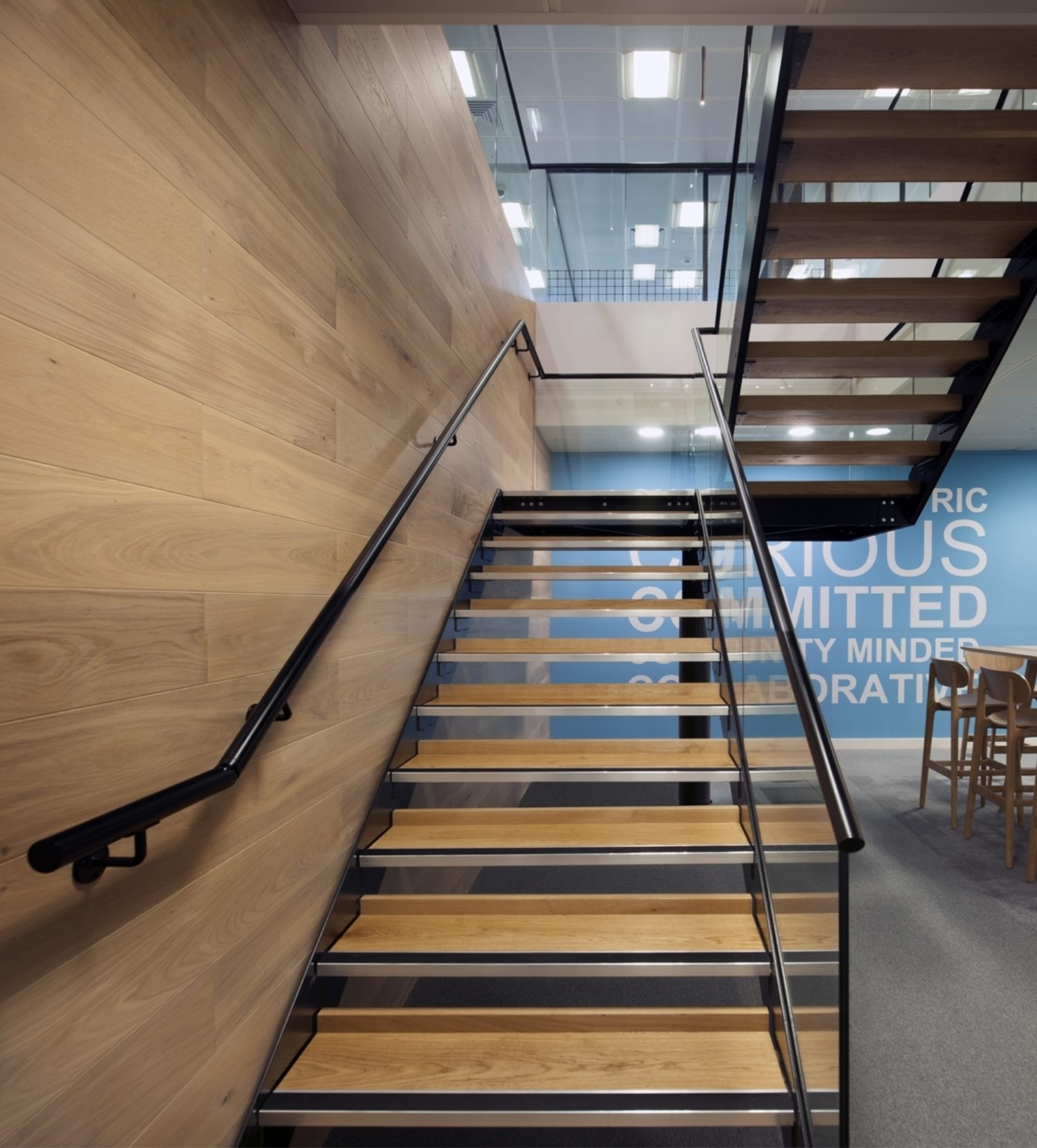 Riverbed's wood and metal staircase in modern office design