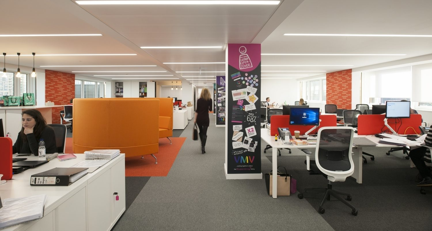 Superdrug open plan workspace design and fit out