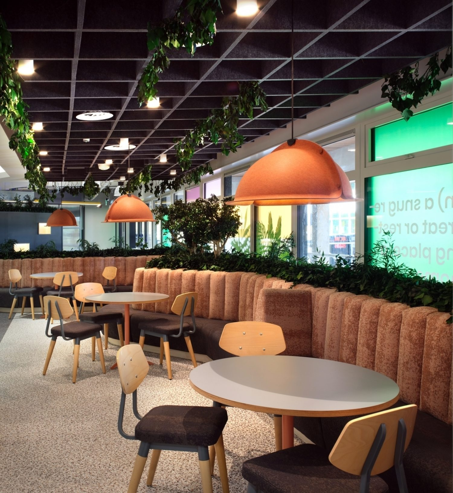 Cafe seating area at Surrey University