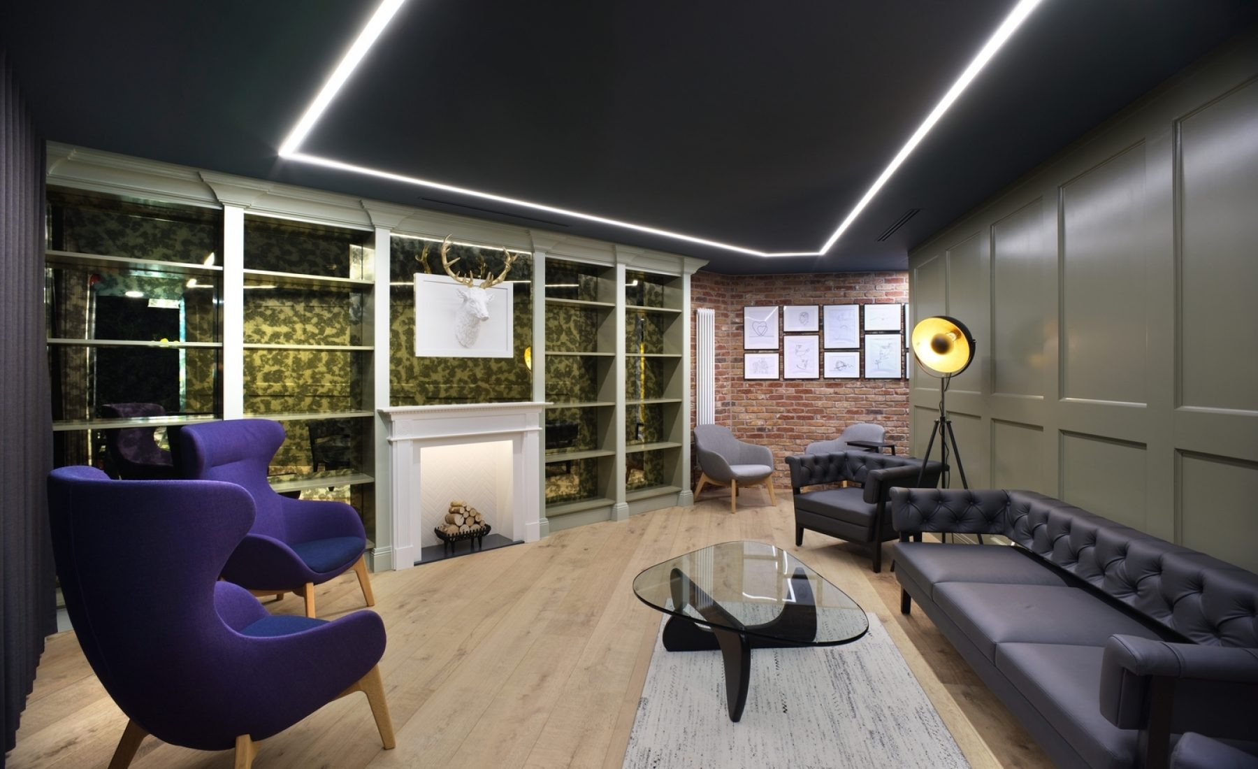 Library inspired design office breakout space