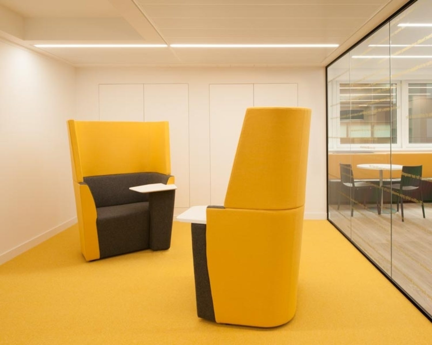 yellow acoustic meeting room