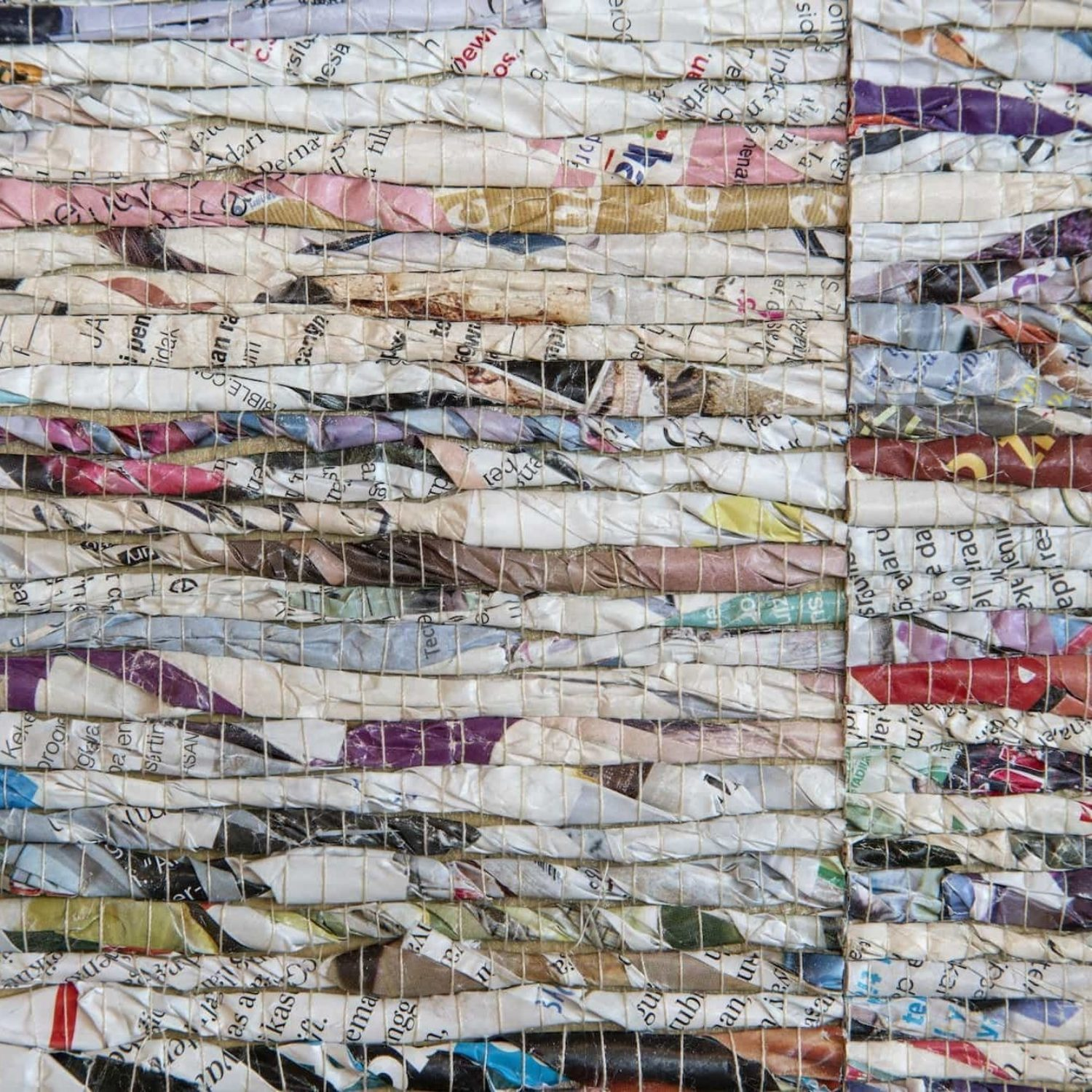 Textured wall from recycled materials