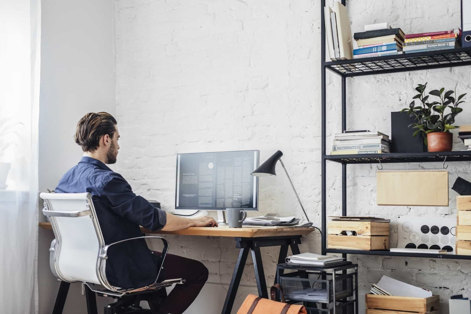 Man working alone in home office