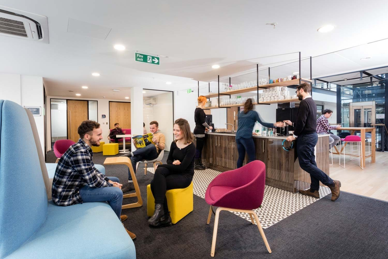 People meeting in flexible breakout space