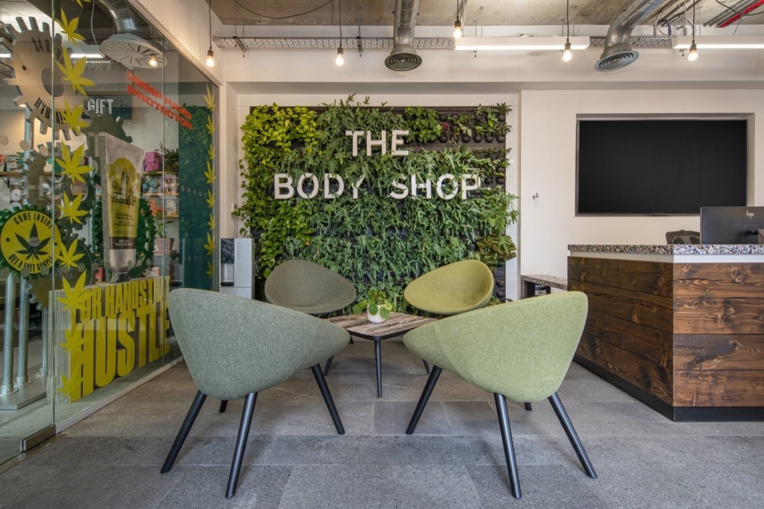 Body Shop living wall in office reception