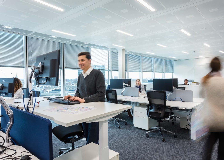 Busy open plan workplace