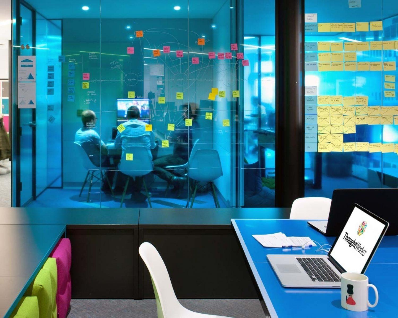 Kanban boards on glass office interior design